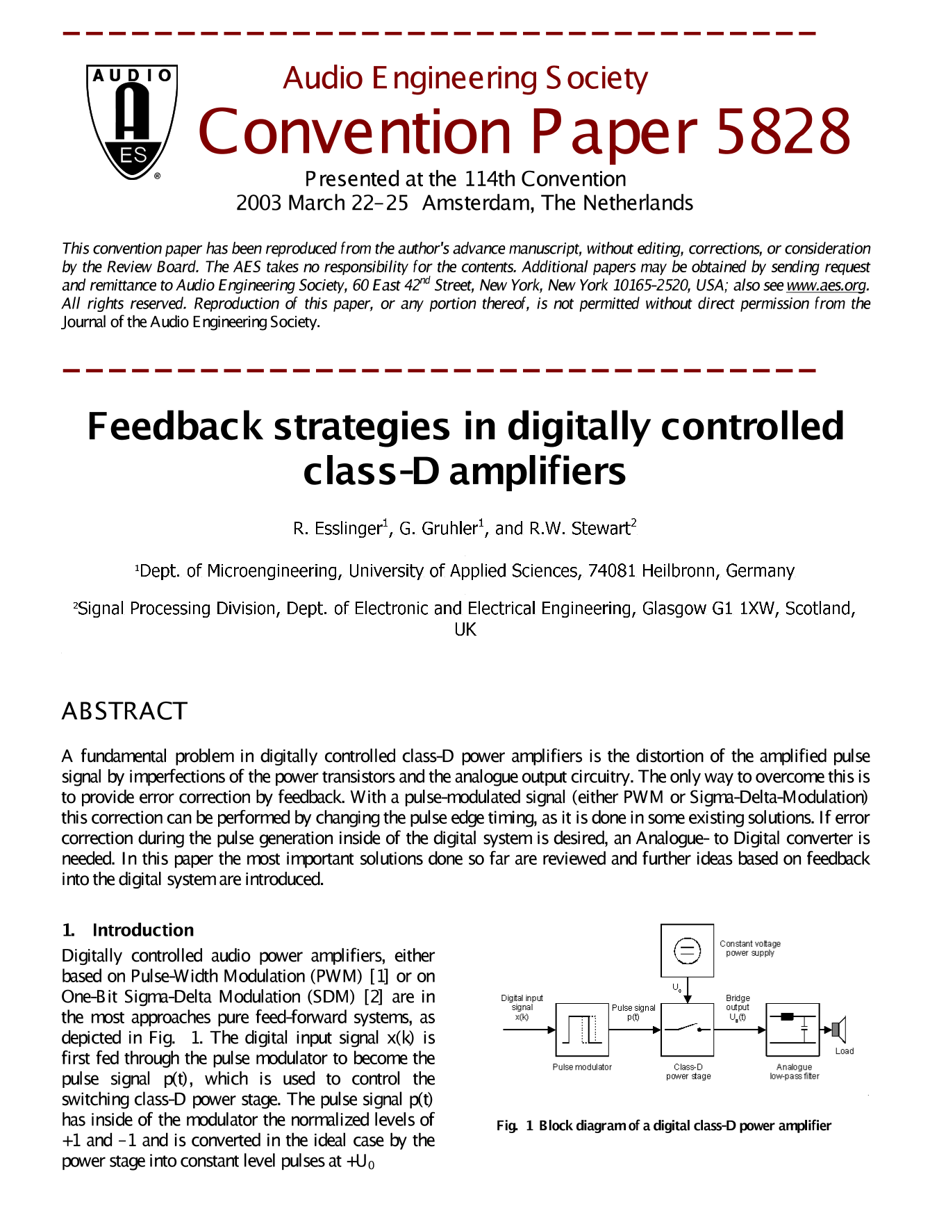 Aes E Library Feedback Strategies In Digitally Controlled Class D Classd Amplifier Circuit Simulator Amplifiers
