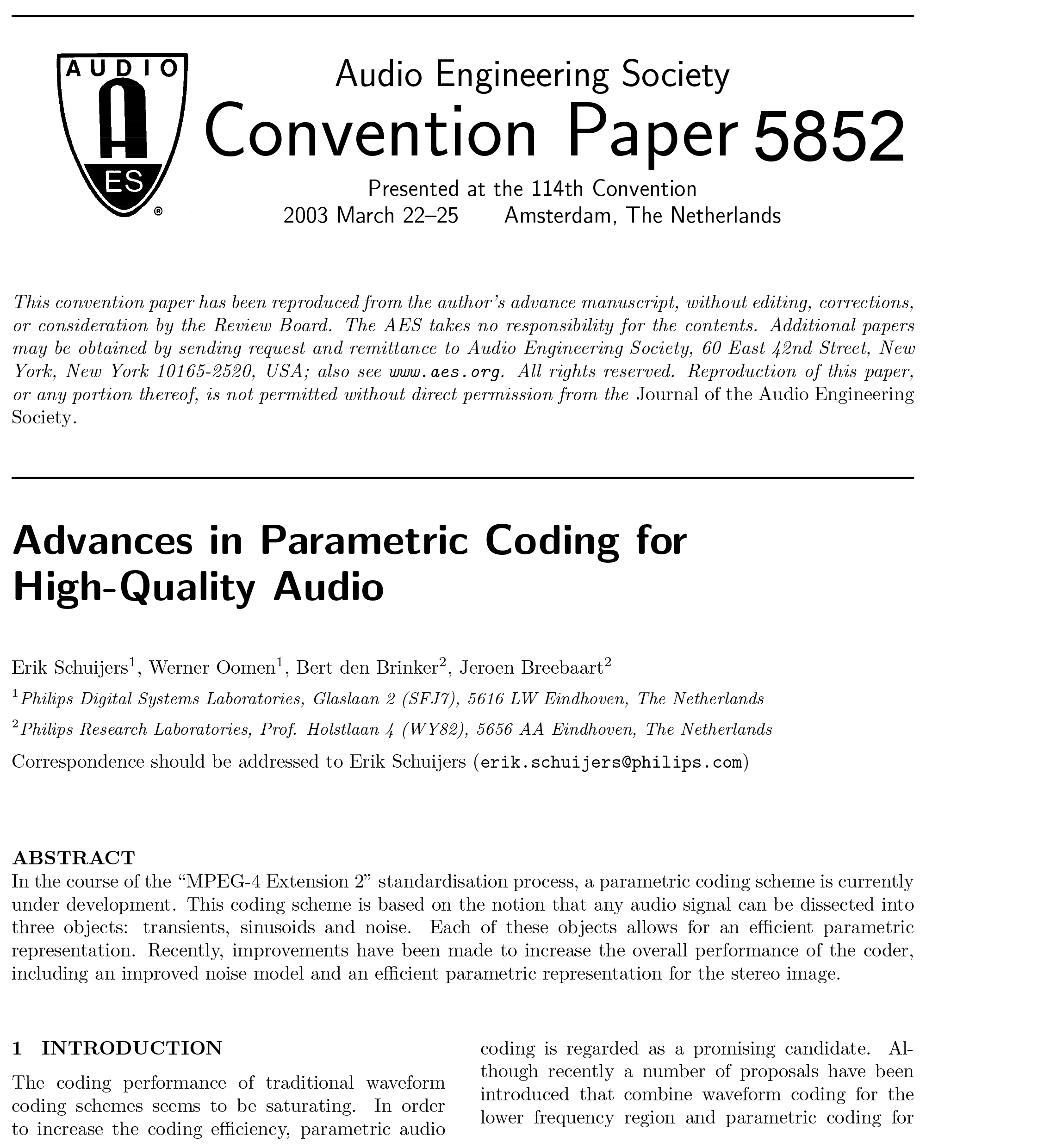 Aes E Library Advances In Parametric Coding For High Quality Audio Stereo Coder Multiplexer