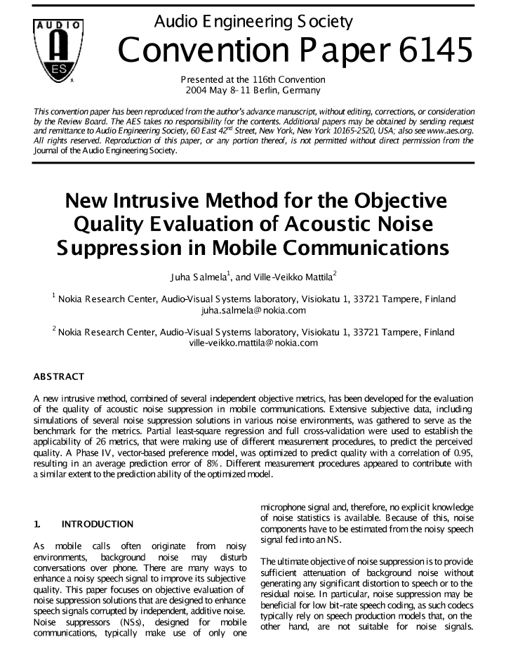 AES E-Library » New Intrusive Method for the Objective Quality
