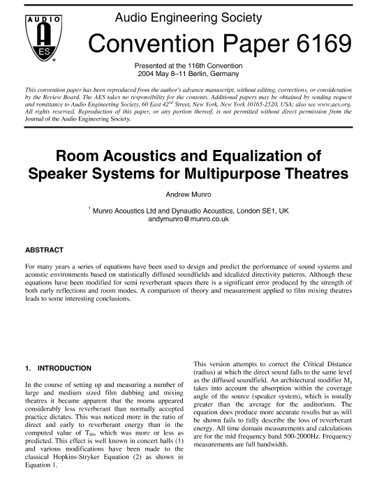 AES E-Library » Room Acoustics and Equalisation of Speaker Systems