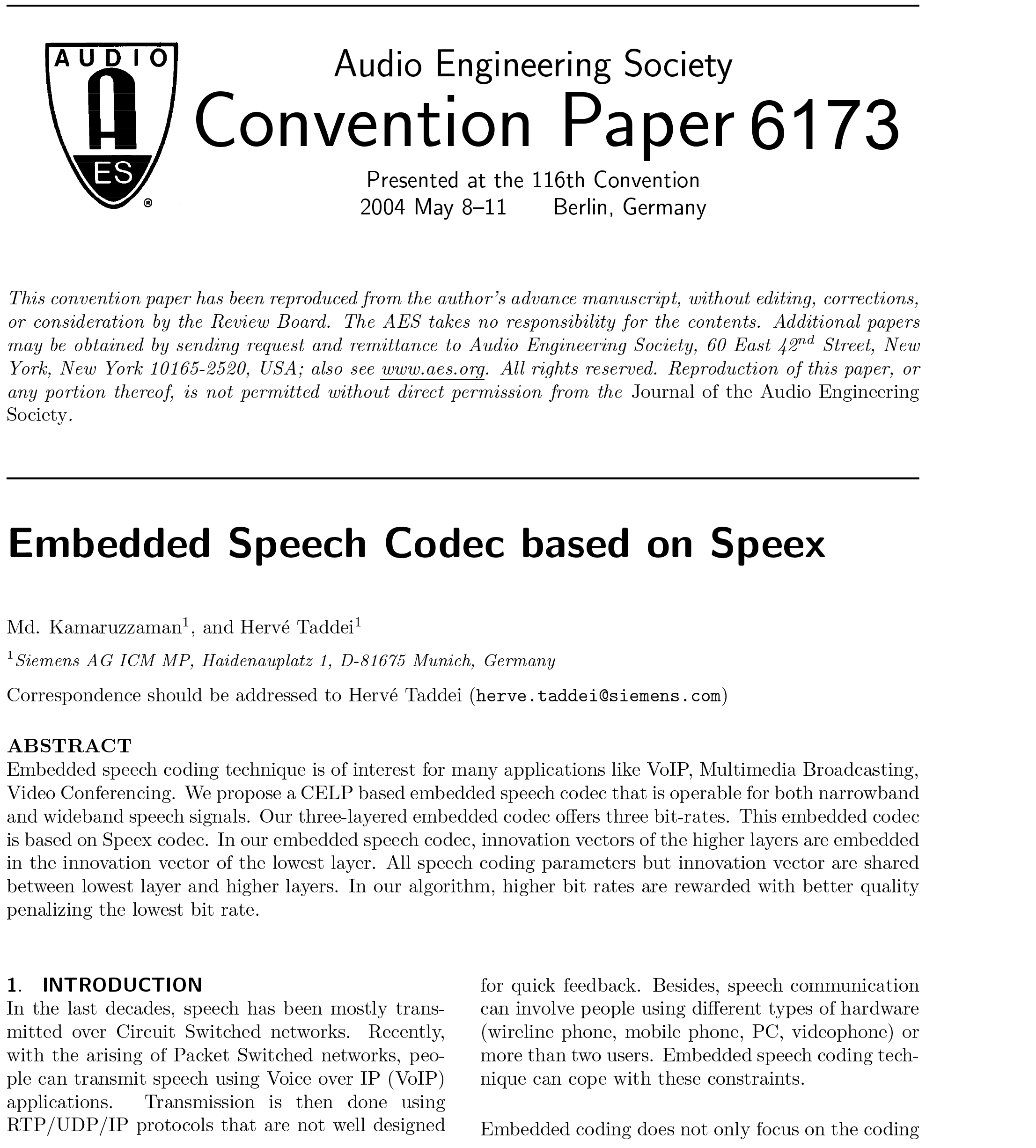 AES E-Library » Embedded Speech Codec Based on Speex