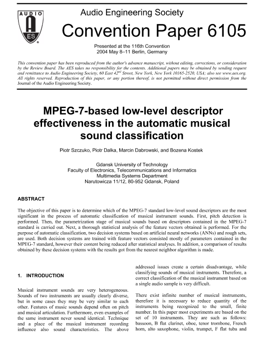 AES E-Library » MPEG-7-based Low-Level Descriptor