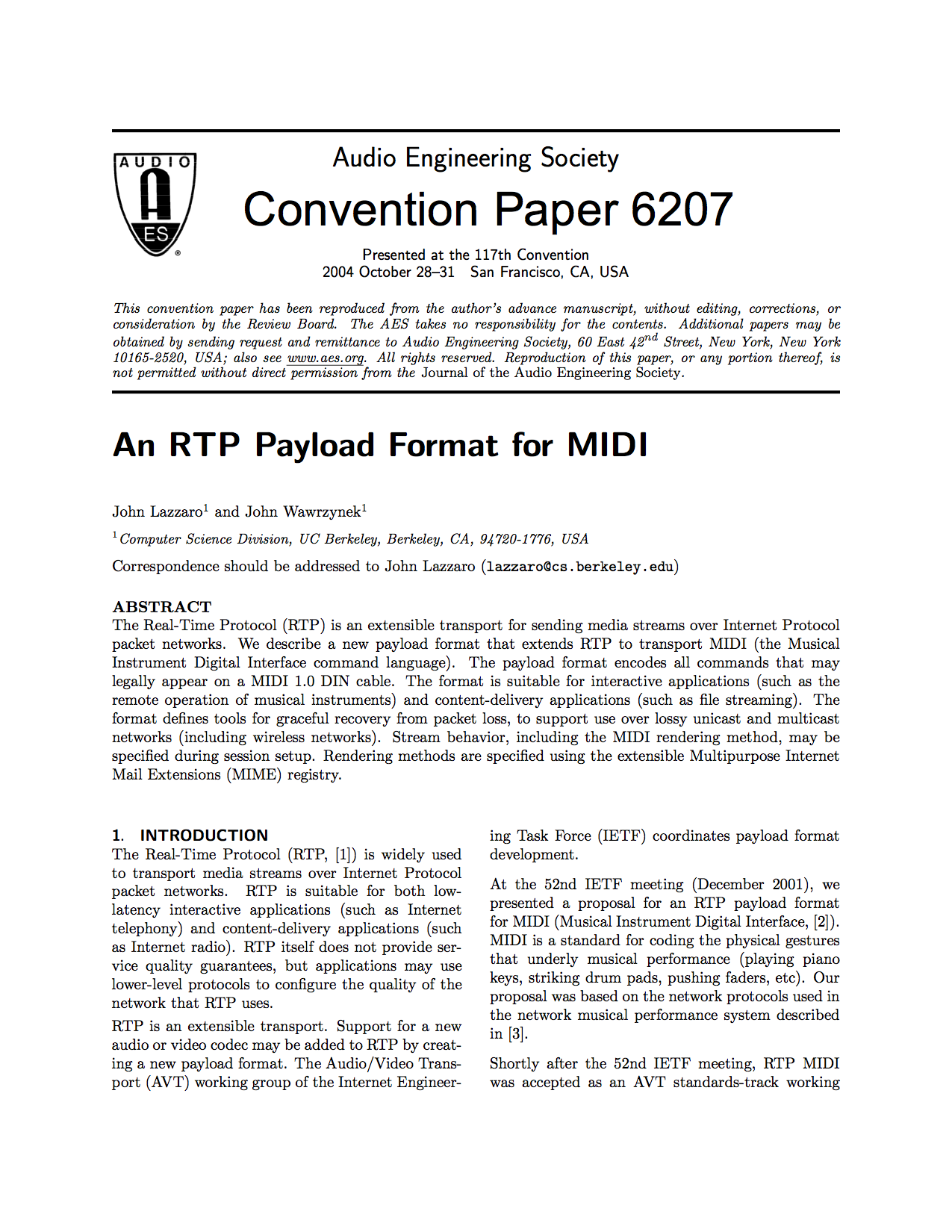 AES E-Library » An RTP Payload Format for MIDI
