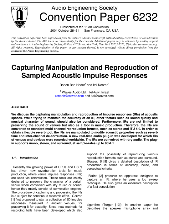 AES E-Library » Capturing Manipulation and Reproduction of