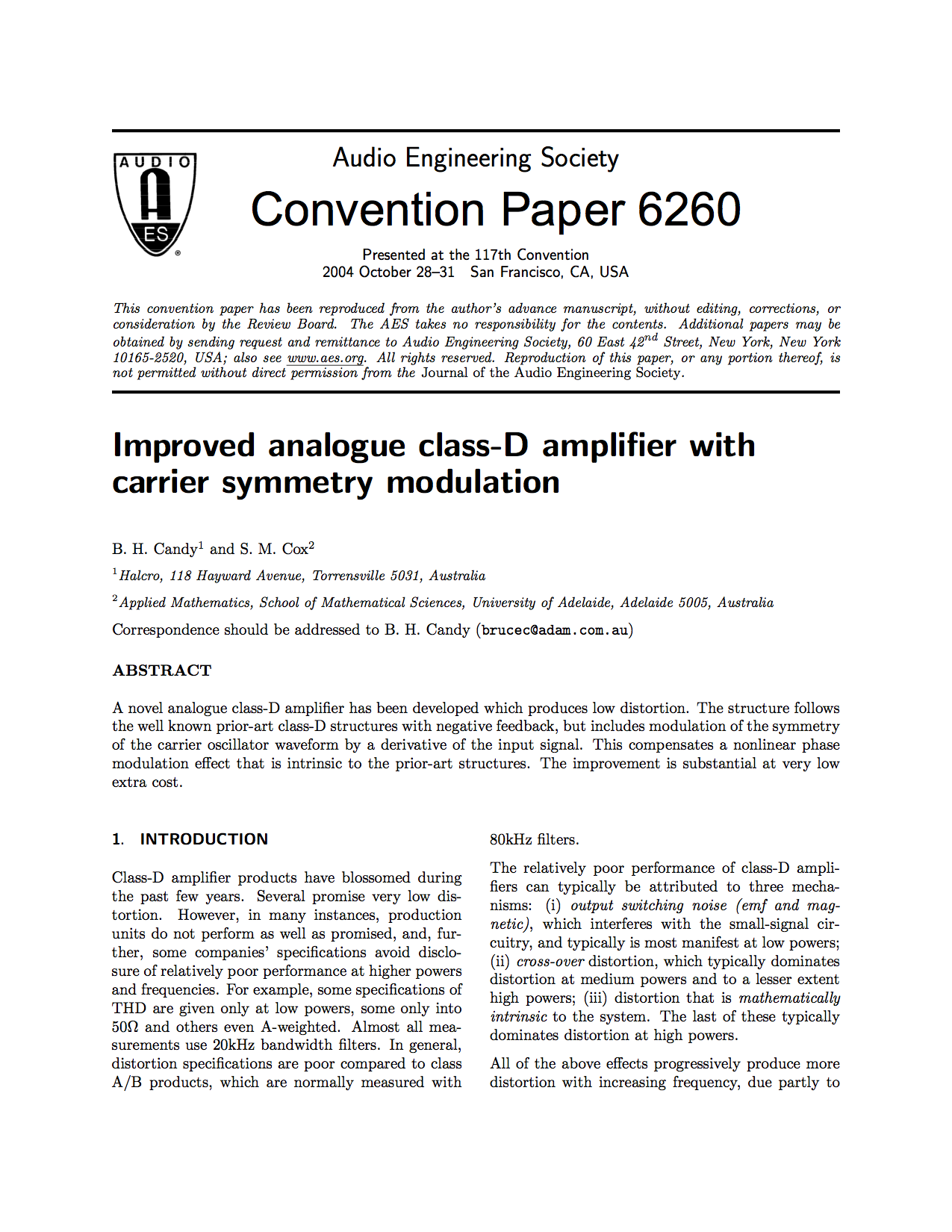 Aes E Library Improved Analogue Class D Amplifier With Carrier Sine Wave Generator Composed Of Inverter Signalprocessing Circuit Symmetry Modulation