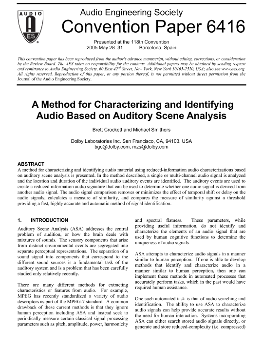 AES E-Library » A Method for Characterizing and Identifying
