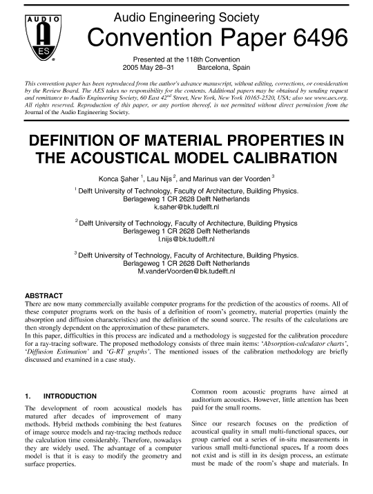 AES E-Library » Denition of Material Properties in the