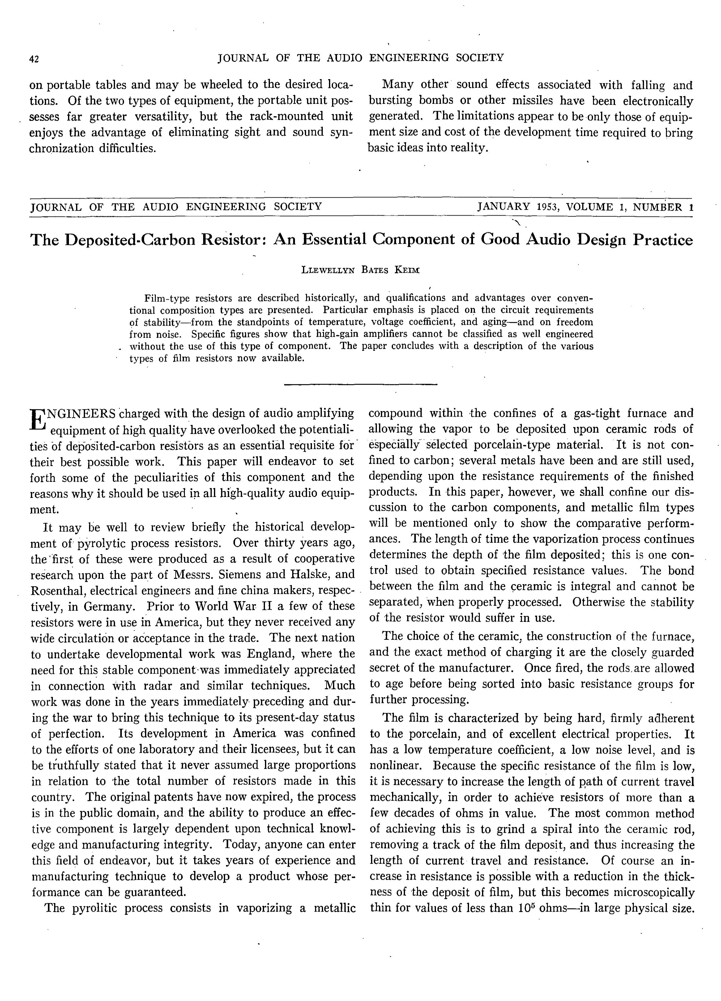 AES ELibrary The DepositedCarbon Resistor An Essential - Audio design document