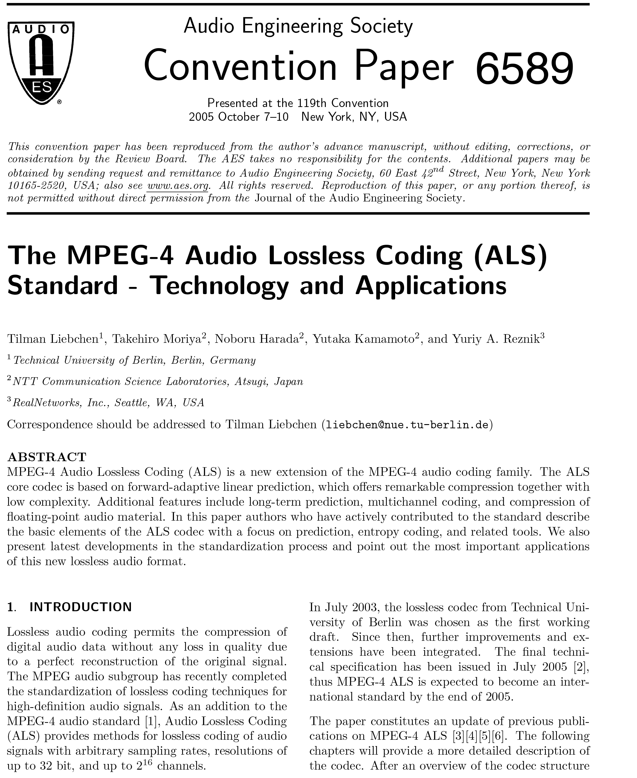 Aes E Library The Mpeg 4 Audio Lossless Coding Als Standard Figure 1 Block Diagram Of Multiplexer Technology And Applications