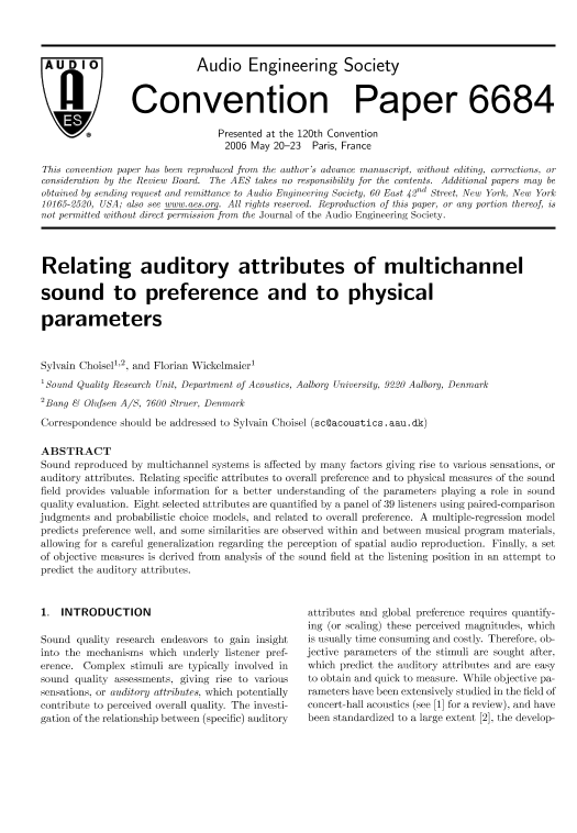 AES E-Library » Relating Auditory Attributes of Multichannel