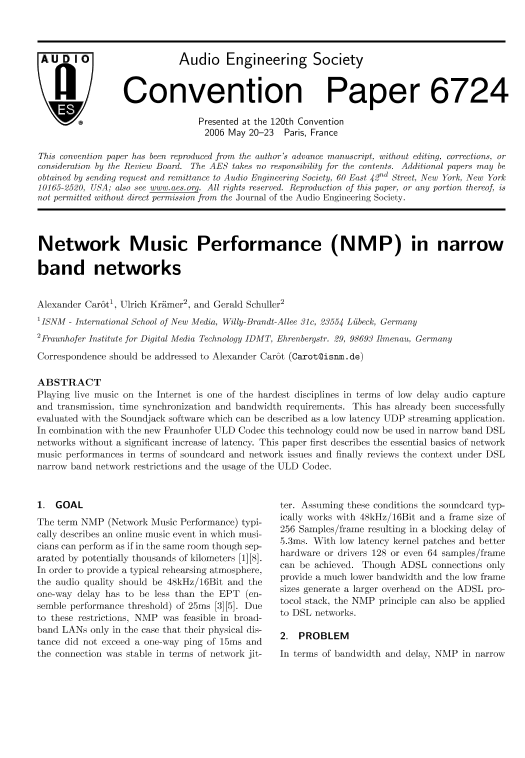 AES E-Library » Network Music Performance (NMP) in Narrow
