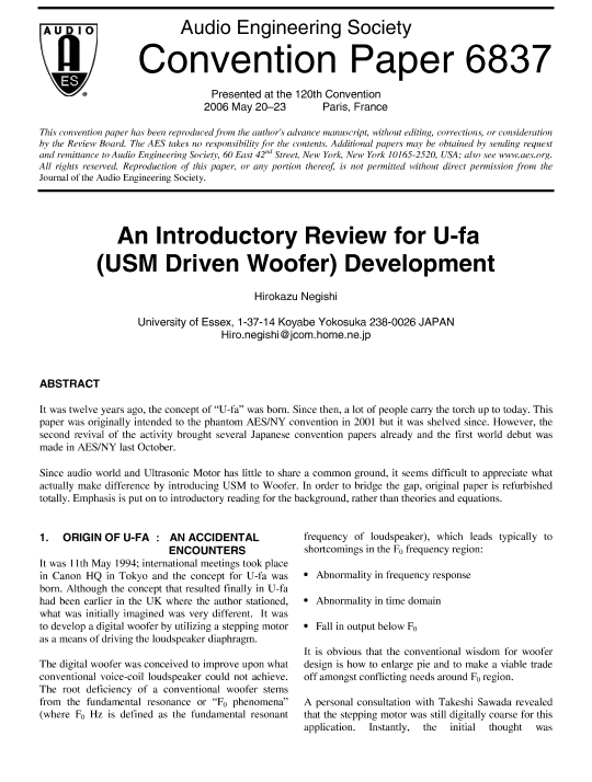 Aes E Library An Introductory Review For U Fa Usm Driven Woofer