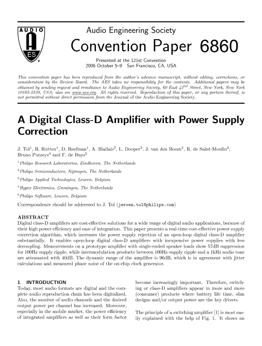 AES E-Library » A Digital Class-D Amplifier with Power Supply Correction