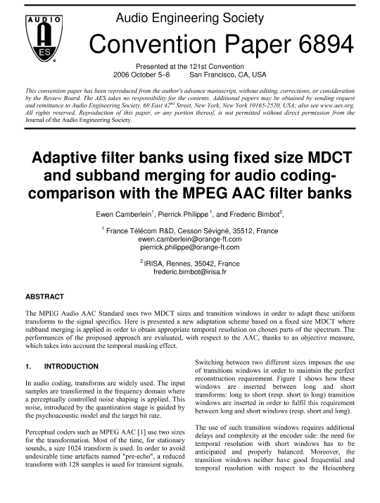 AES E-Library » Adaptive Filter Banks using Fixed Size MDCT