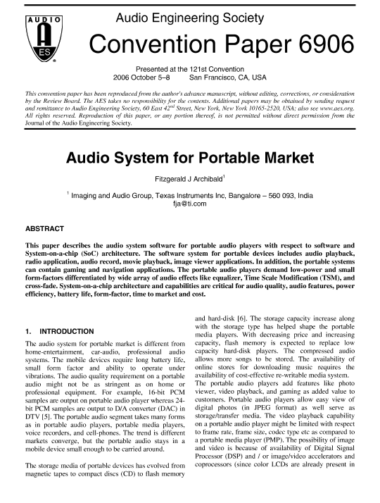 AES E-Library » Audio System for Portable Market