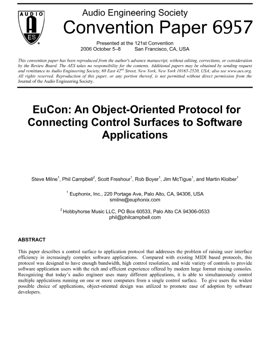AES E-Library » EuCon: An Object-Oriented Protocol for