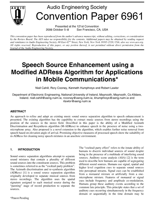 AES E-Library » Speech Source Enhancement using a Modified ADRess
