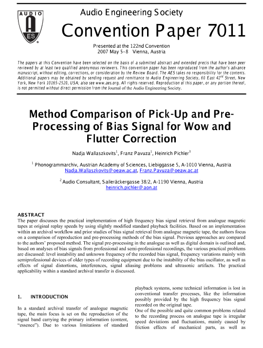 AES E-Library » Method Comparison of Pick-Up and Pre