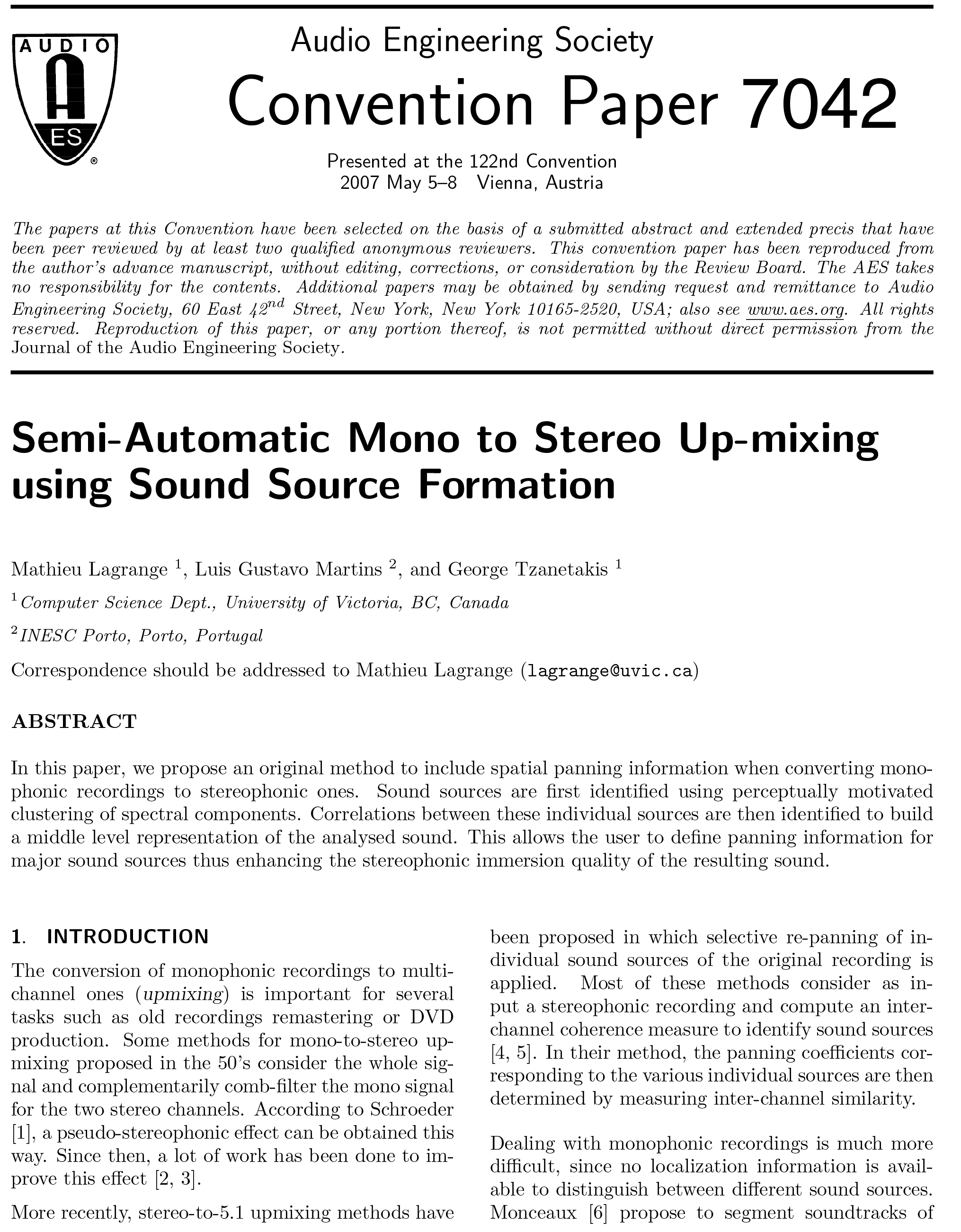 Aes E Library Semi Automatic Mono To Stereo Up Mixing Using Sound