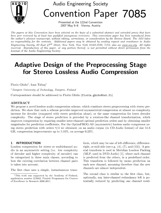 lossless compression of audio essay This free computer science essay on essay: speech synthesizer and feature extraction using lossless multiwavelet eeg compression is perfect if this audio wave.