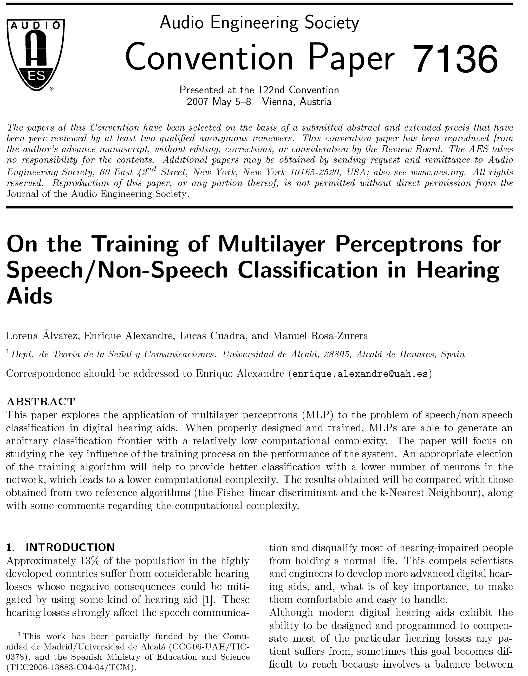 AES E-Library » On the Training of Multilayer Perceptrons