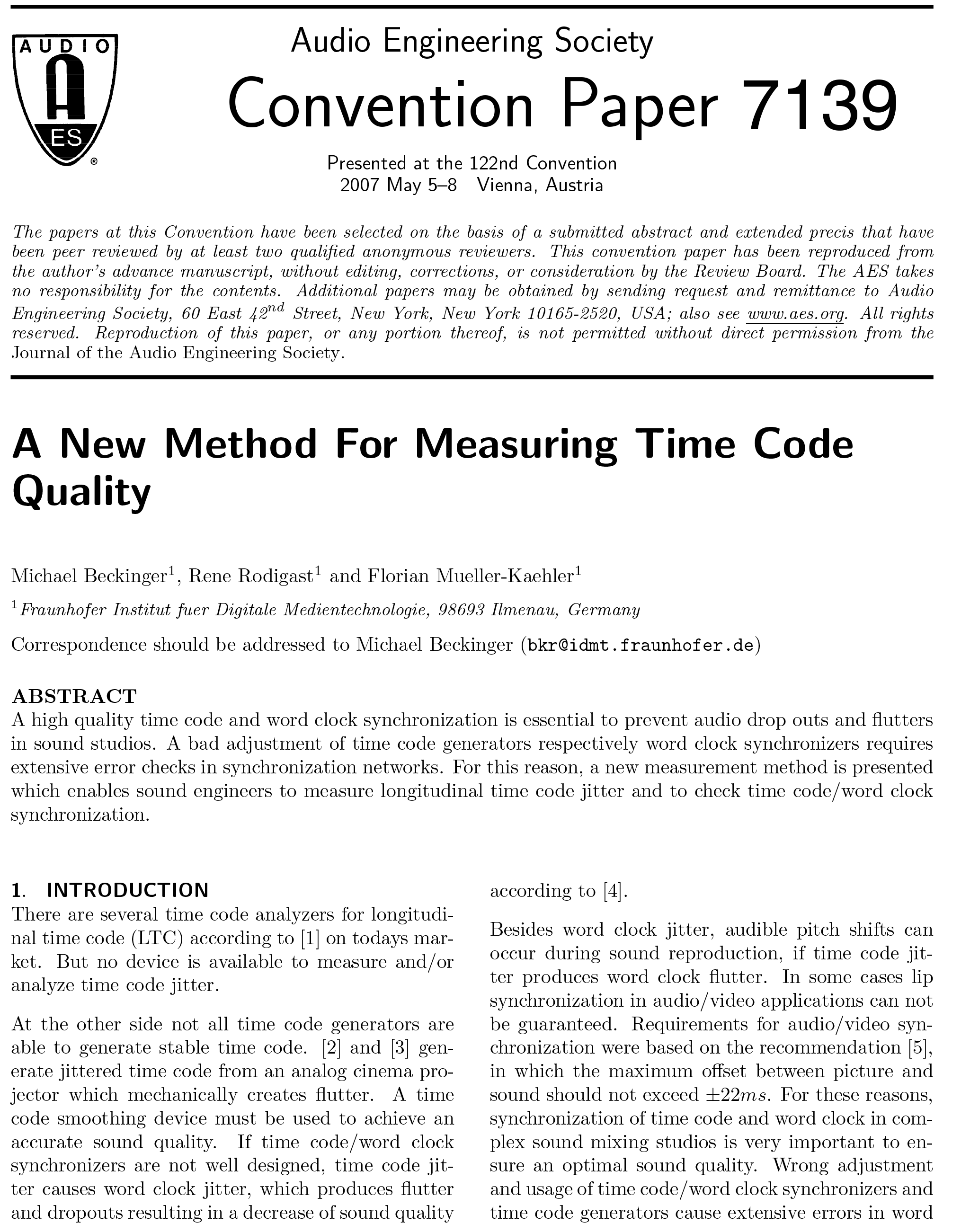 AES E-Library » A New Method for Measuring Time Code Quality