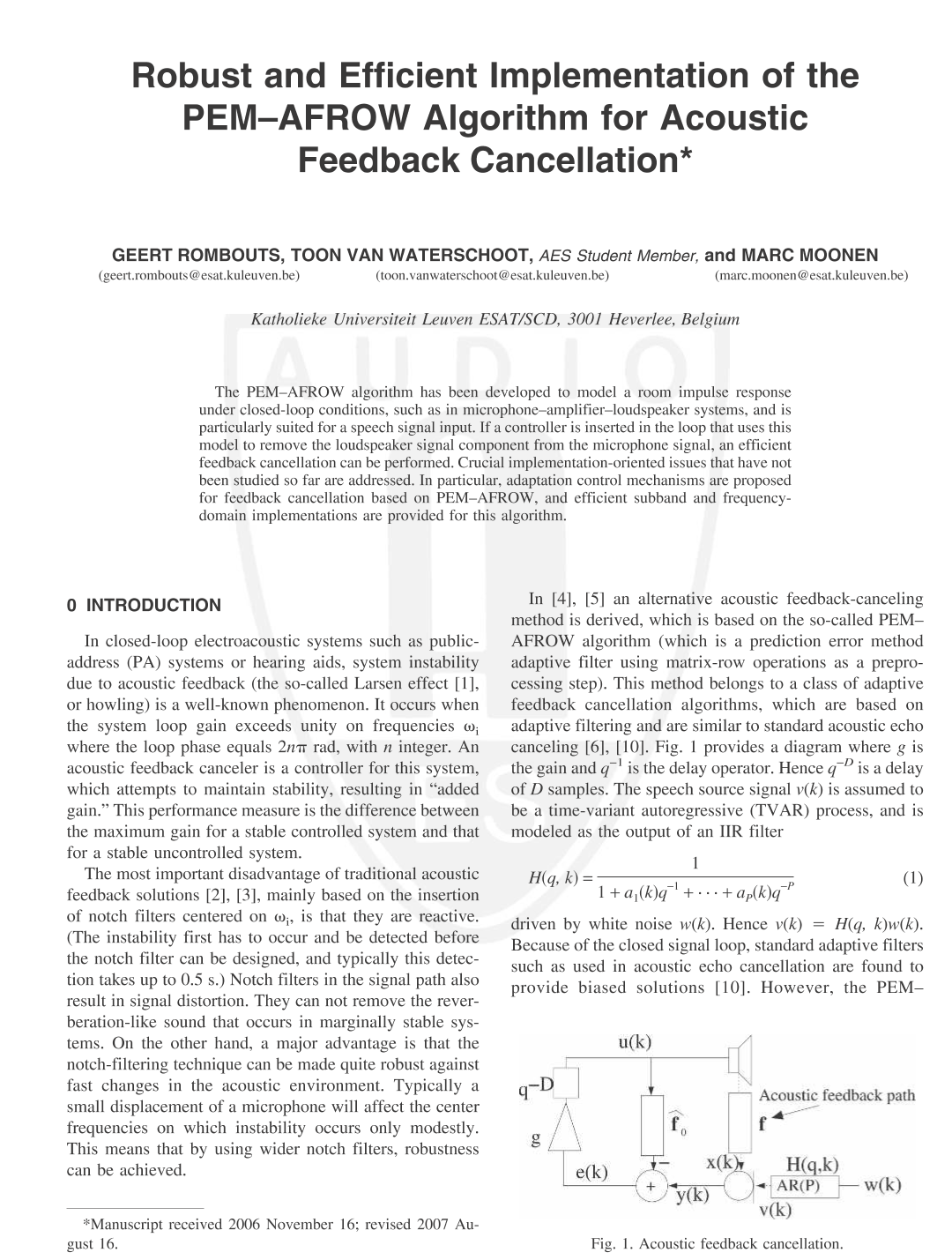 Aes E Library Robust And Efficient Implementation Of The Pemafrow High Q Notch Filter With Active Twin T Network Algorithm For Acousic Feedback Cancellation