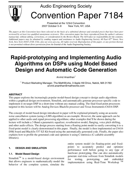 AES E-Library » Rapidly Prototyping and Implementing Audio