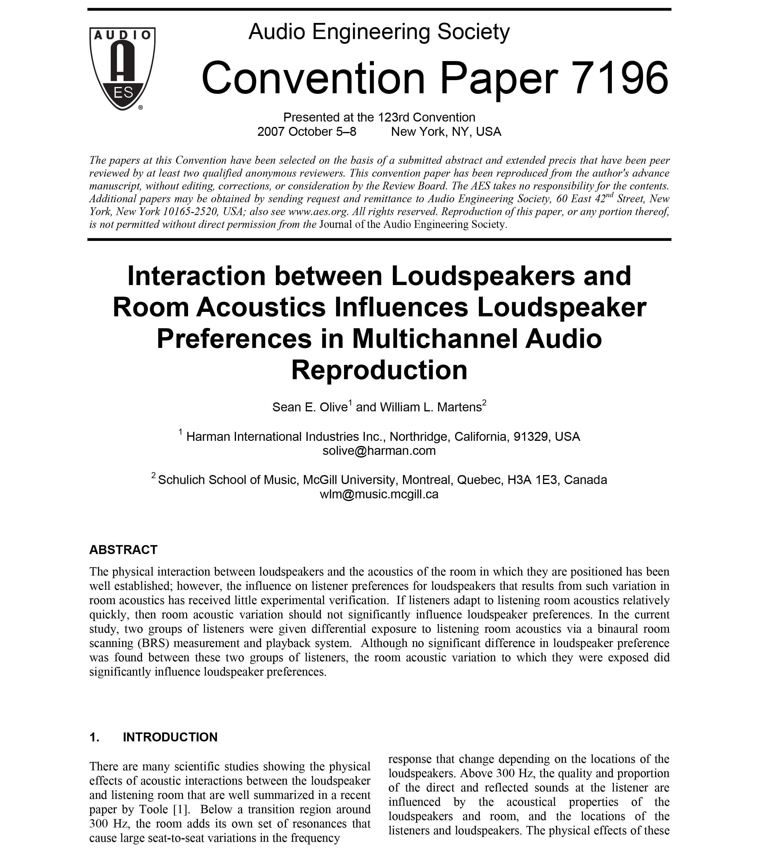 Aes E Library Interaction Between Loudspeakers And Room Acoustics Midrange Coustic Ca Sp 300 Mid Influences Loudspeaker Preferences In Multichannel Audio Reproduction