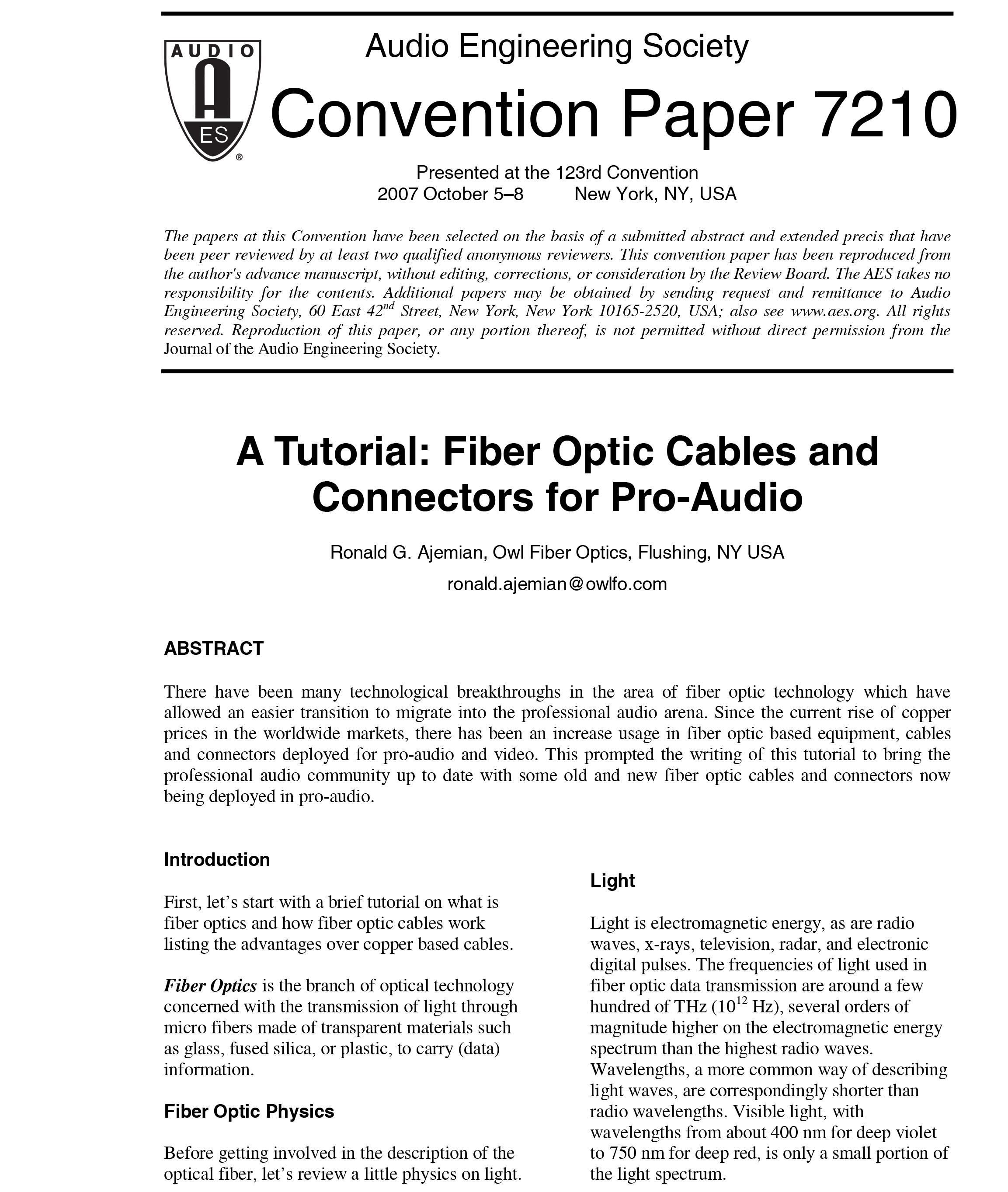 Aes E Library A Tutorial Fiber Optic Cables And Connectors For Radar Utilizing On Wiring In House Pro Audio