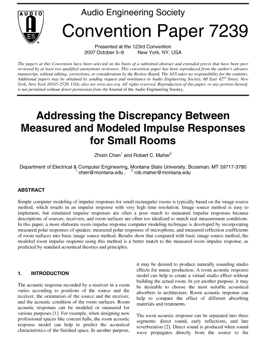 AES E-Library » Addressing the Discrepancy Between Measured and