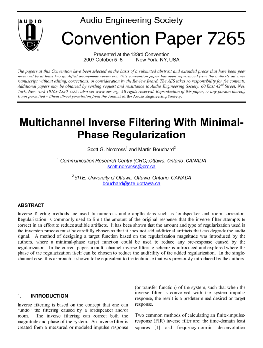 AES E-Library » Multichannel Inverse Filtering with Minimal