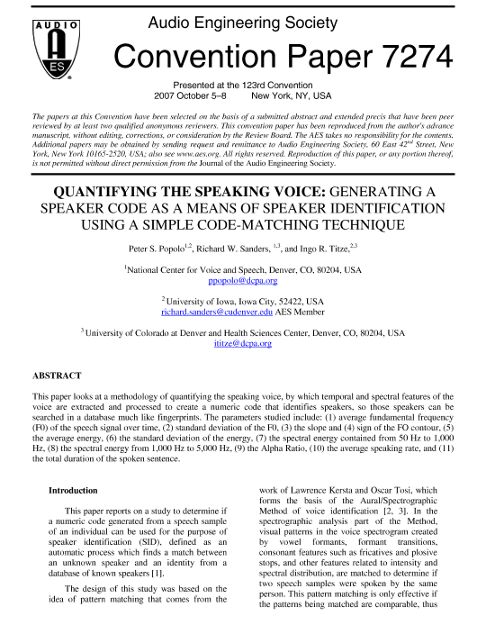 AES E-Library » Quantifying the Speaking Voice: Generating a Speaker