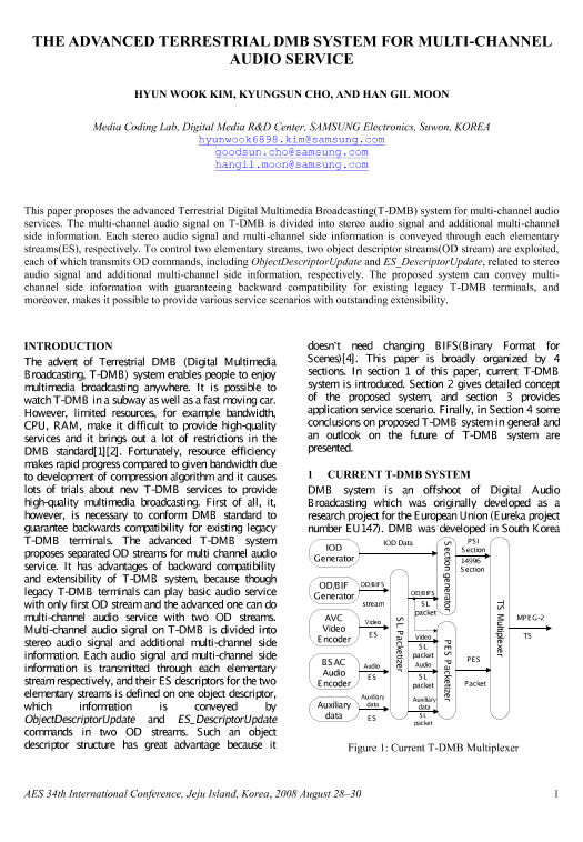 AES E-Library » The Advanced Terrestrial DMB System for
