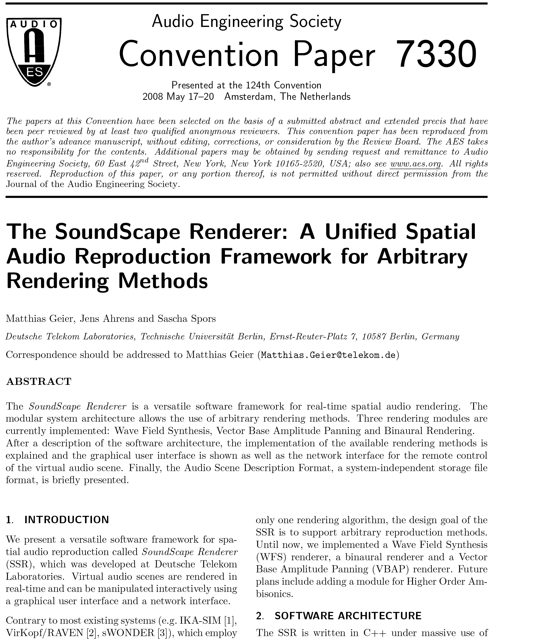 AES E-Library » The SoundScape Renderer: A Unified Spatial