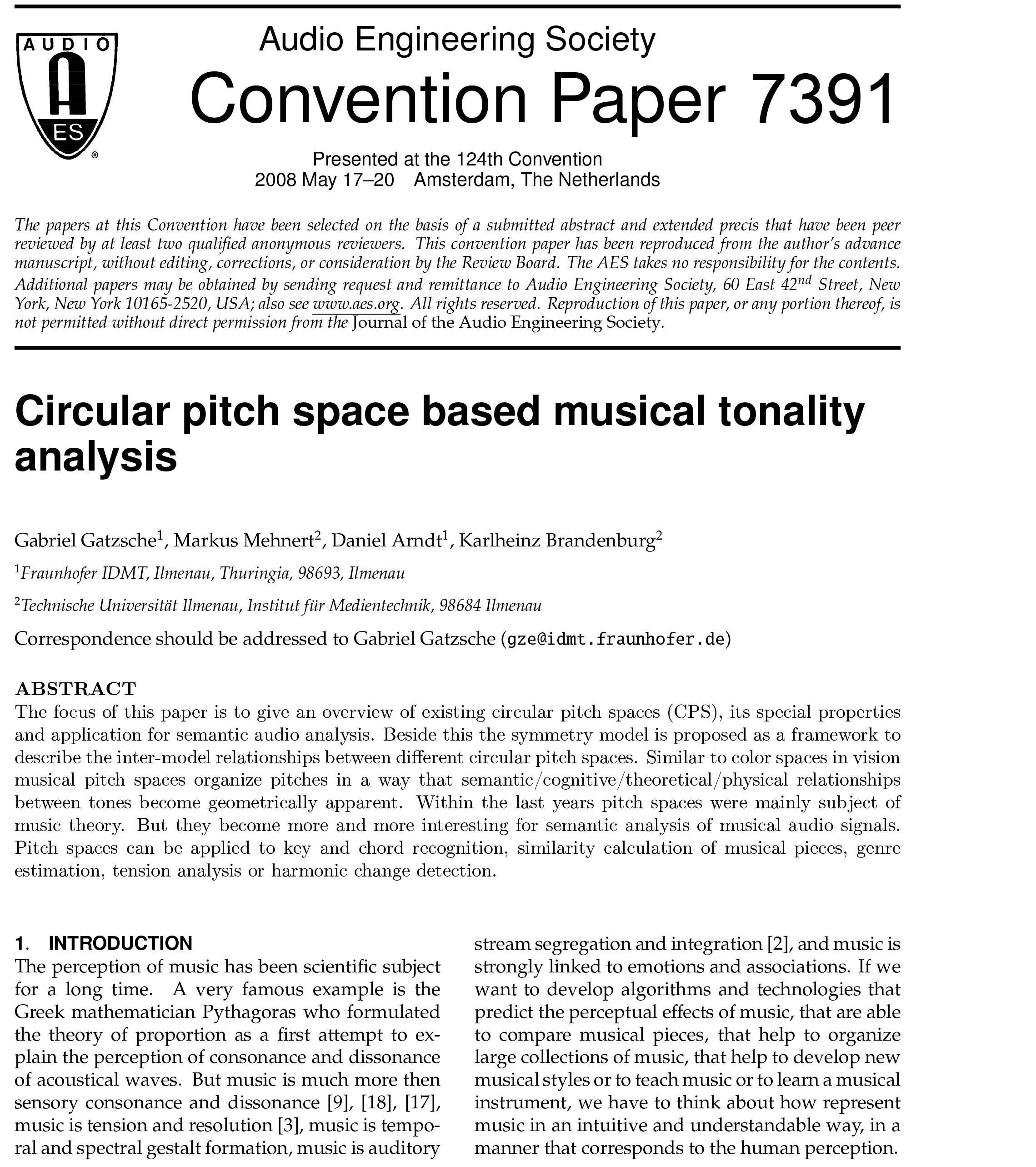 AES E-Library » Circular Pitch Space Based Musical Tonality
