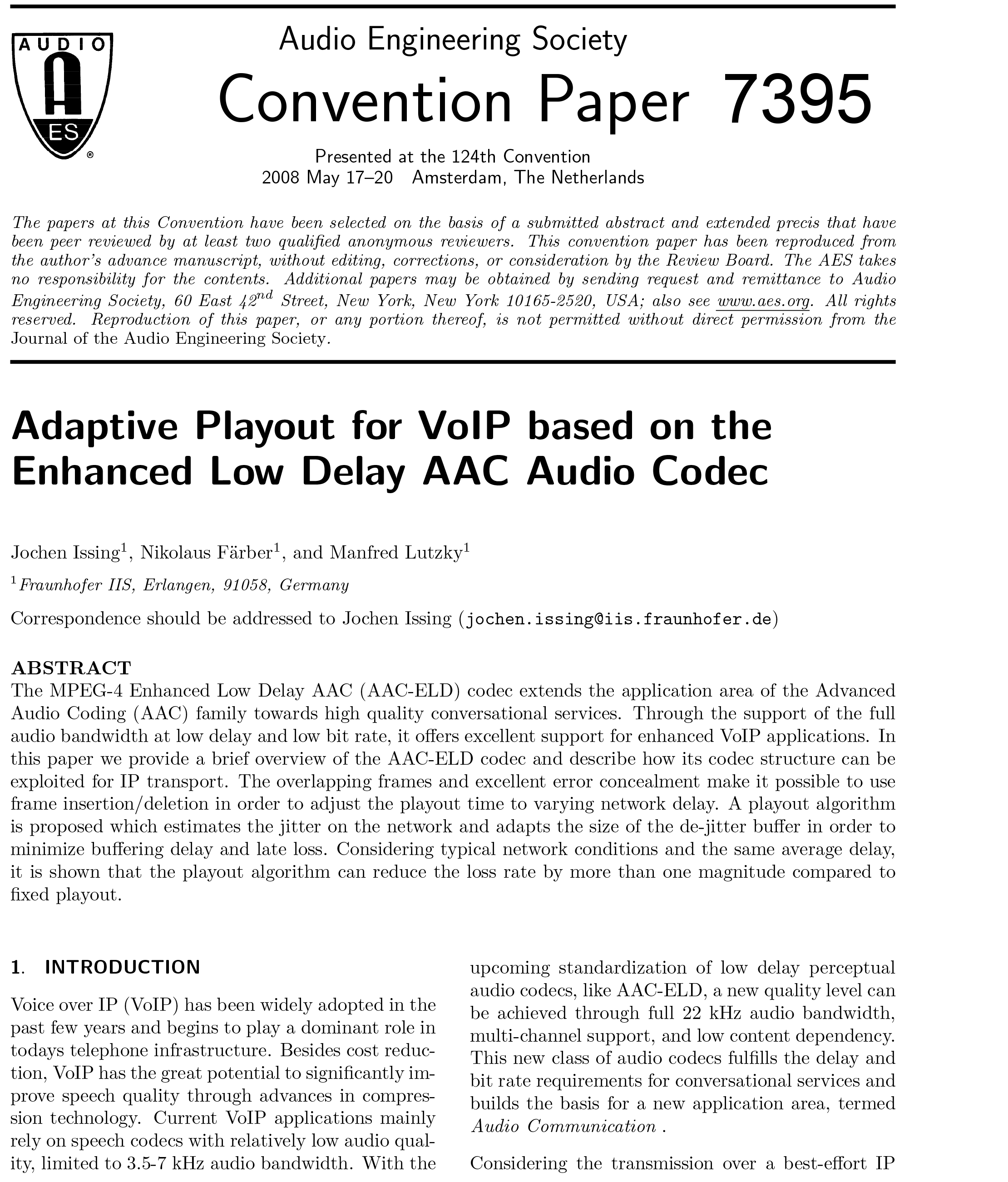 AES E-Library » Adaptive Playout for VoIP Based on the