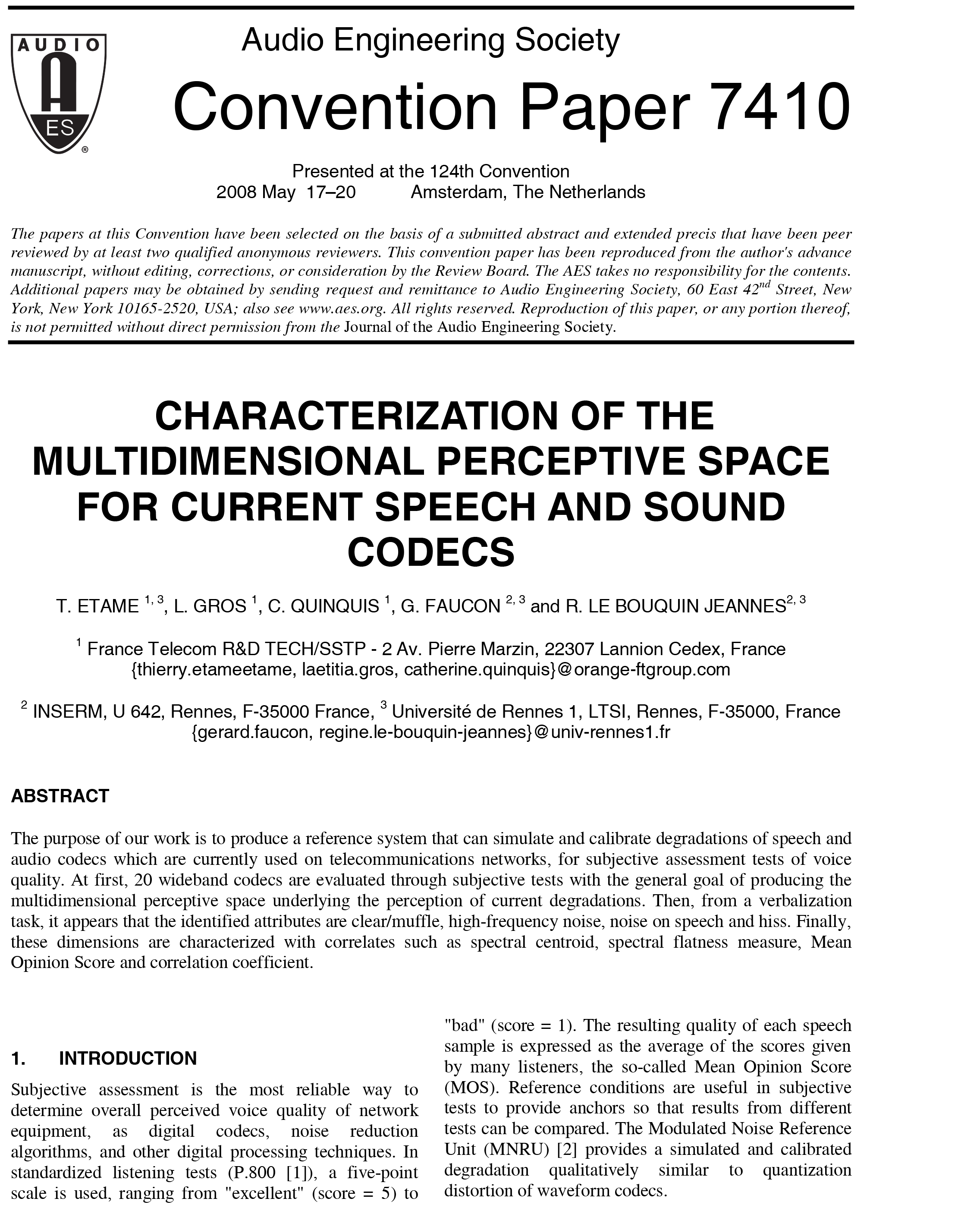 aes e library characterization of the multidimensional perceptive space for current speech and sound codecs