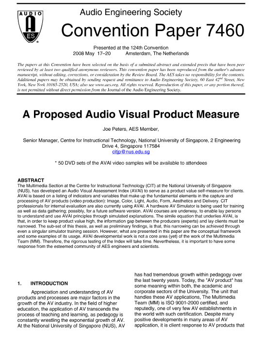 AES E-Library » A Proposed Audio Visual Product Evaluation Measure