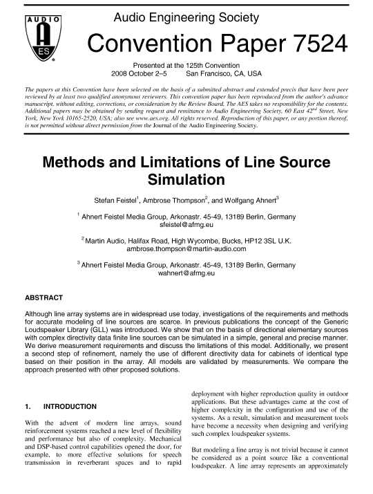 AES E-Library » Methods and Limitations of Line Source