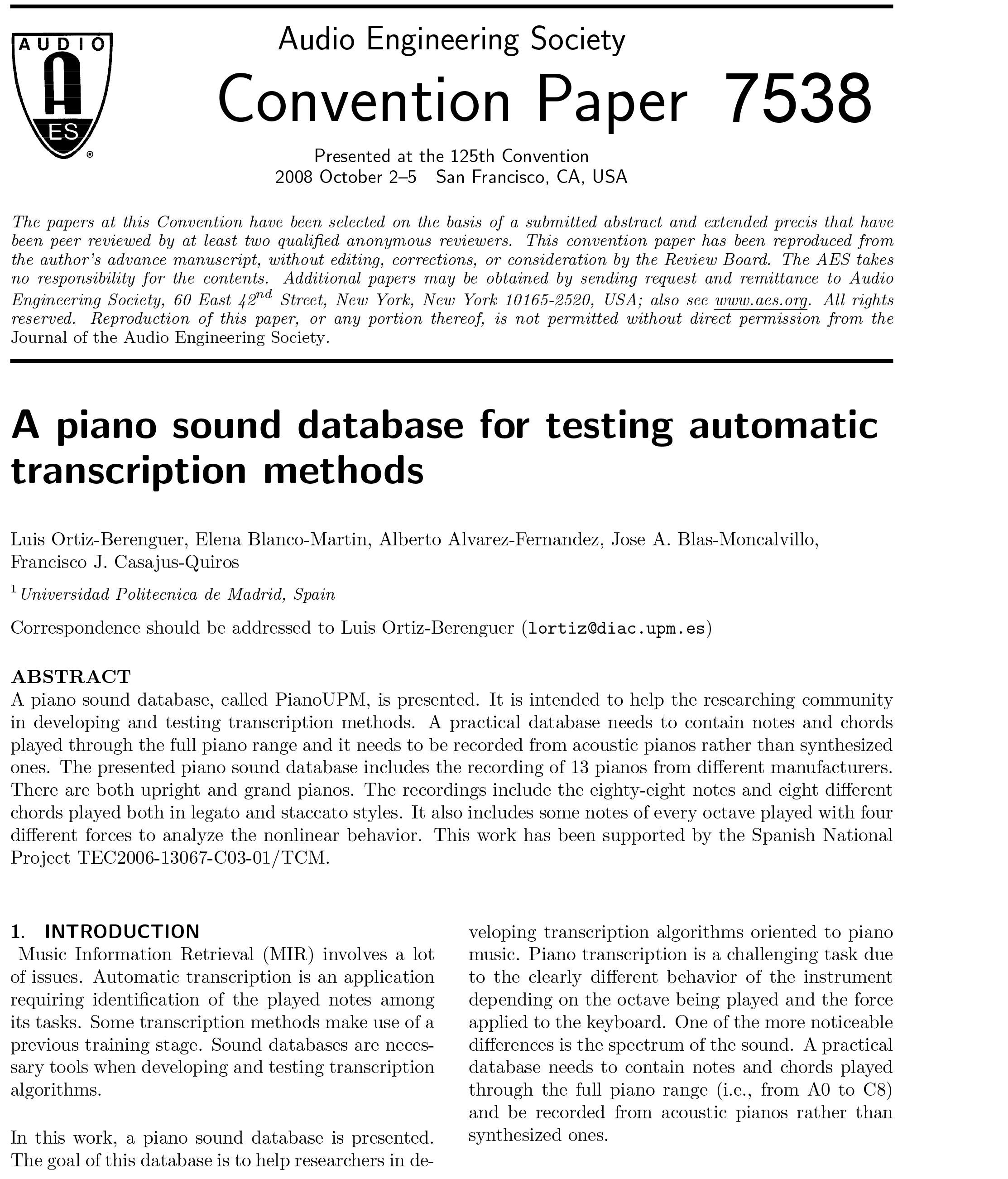 AES E-Library » A Piano Sound Database for Testing Automatic