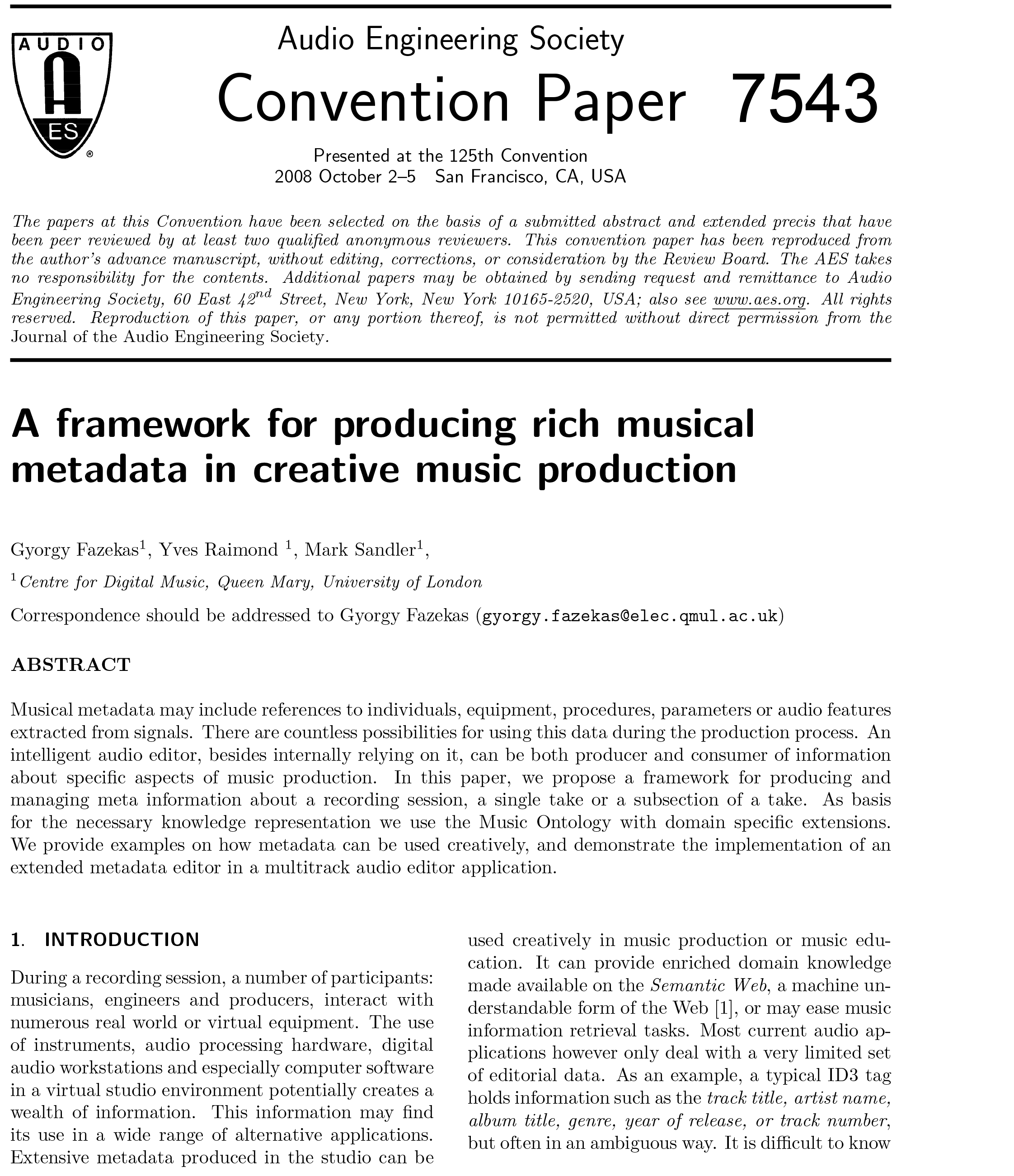 AES E-Library » A Framework for Producing Rich Musical Metadata in