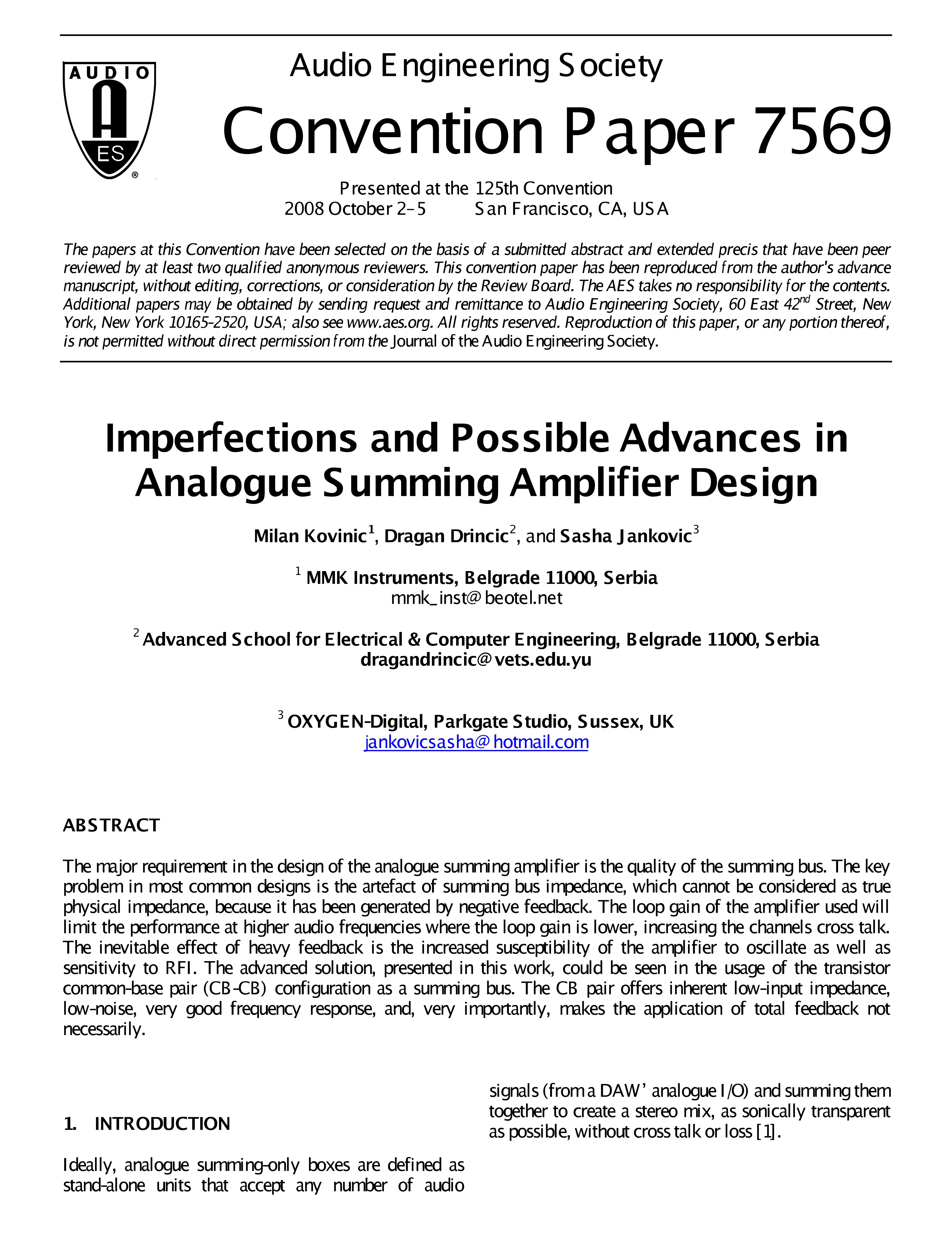Aes E Library Imperfections And Possible Advances In Analog Operational Amplifiers Summing Amplifier Design