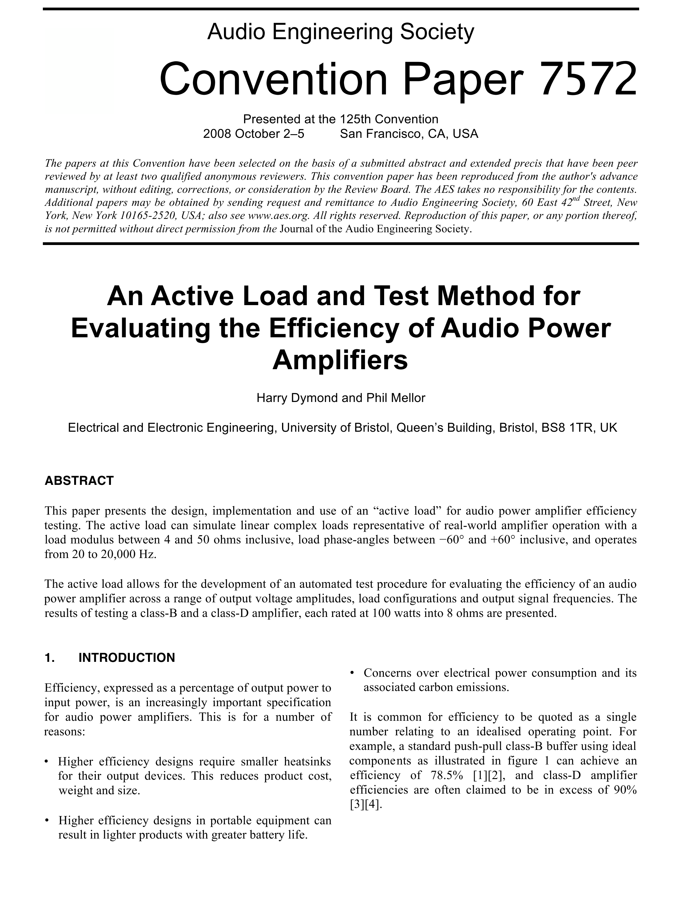 Aes E Library An Active Load And Test Method For Evaluating The Class A Power Amplifier With 60 Watts Output Efficiency Of Audio Amplifiers