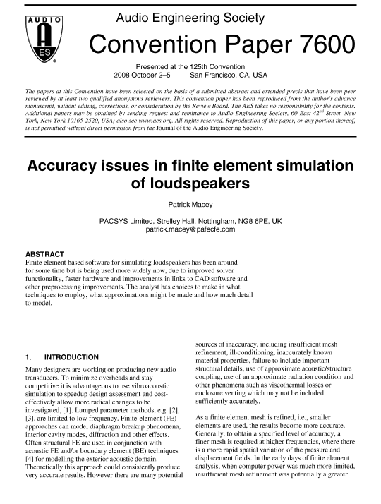 AES E-Library » Accuracy Issues in Finite Element Simulation