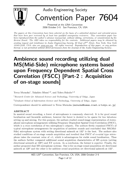 AES E-Library » Ambience Sound Recording Utilizing Dual MS