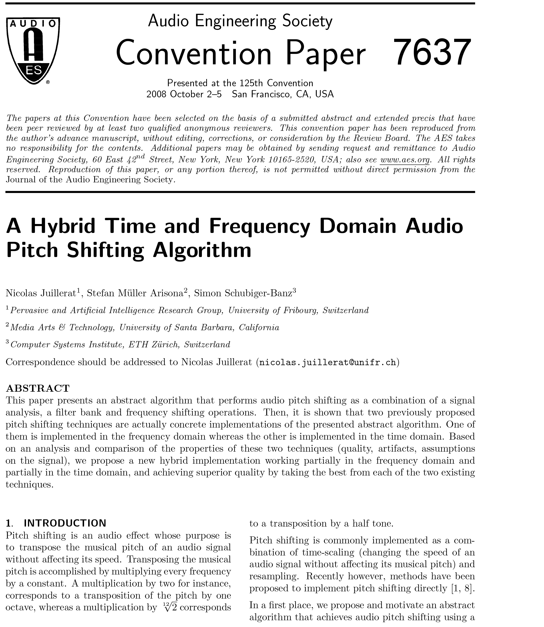 AES E-Library » A Hybrid Time and Frequency Domain Audio Pitch