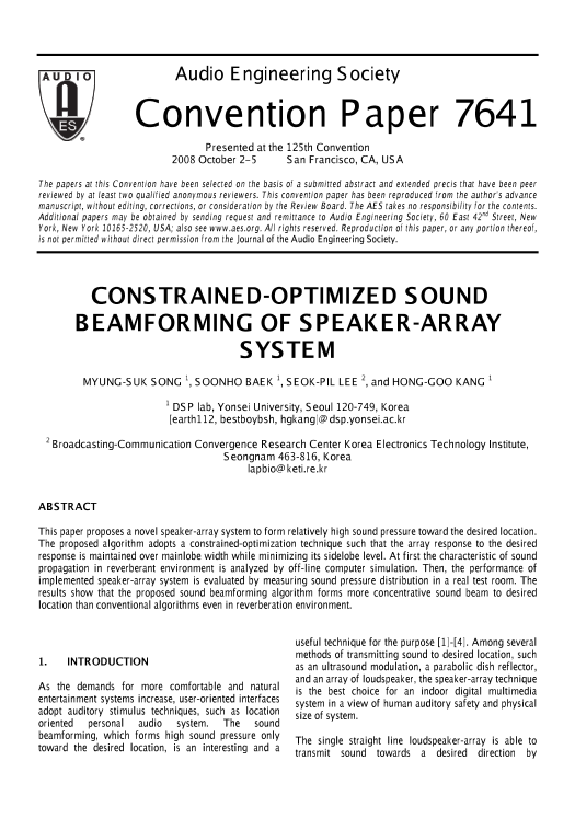 AES E-Library » Constrained-Optimized Sound Beamforming of
