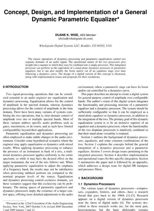 AES E-Library » Concept, Design, and Implementation of a General