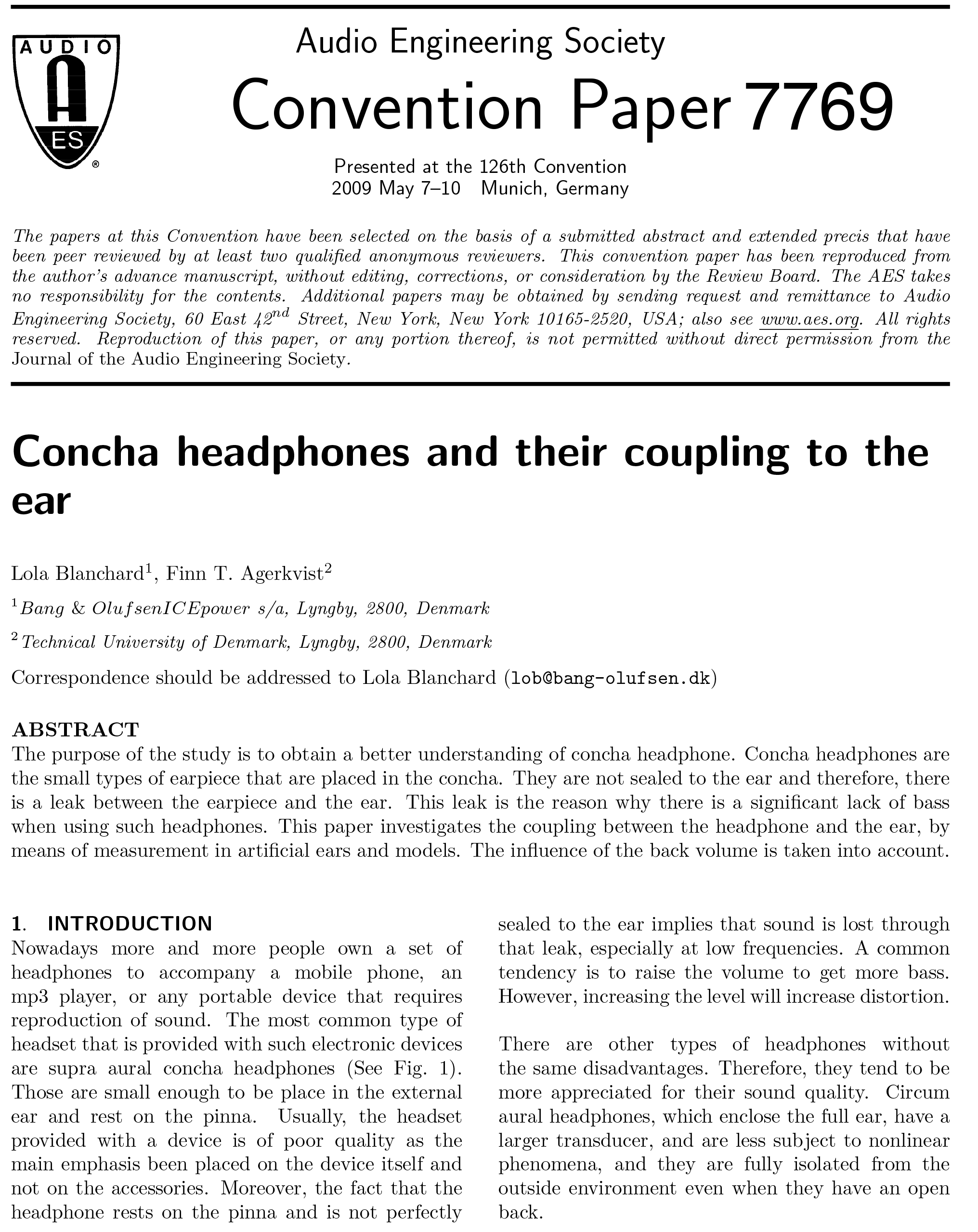 AES E-Library » Concha Headphones and Their Coupling to the Ear